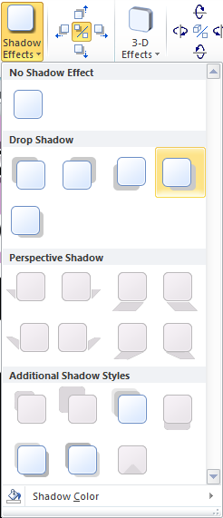 Microsoft Publisher 2010 Shadow Effects Style Drop Shadow