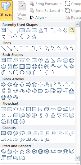 Microsoft Publisher 2010 Shapes Menu Freeform