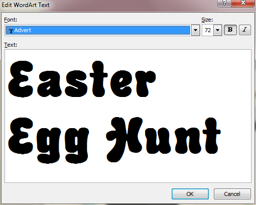 Microsoft Publisher 2010 WordArt Text Easter