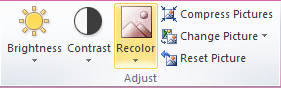 Microsoft Publisher 2010 Adjust Group Recolor Icon