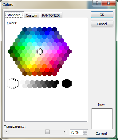 Microsoft Publisher 2010 Colors Window Transparency