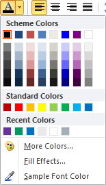Microsoft Publisher 2010 Font Color Options