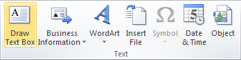 Microsoft Publisher 2010 Text Group Text Box Icon