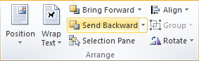Microsoft Word Arrange Group - Send Backward