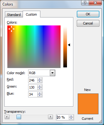 Microsoft Word Colors Window