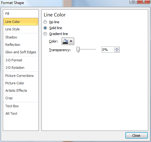 Microsoft Word Format Shape Window - Line Color