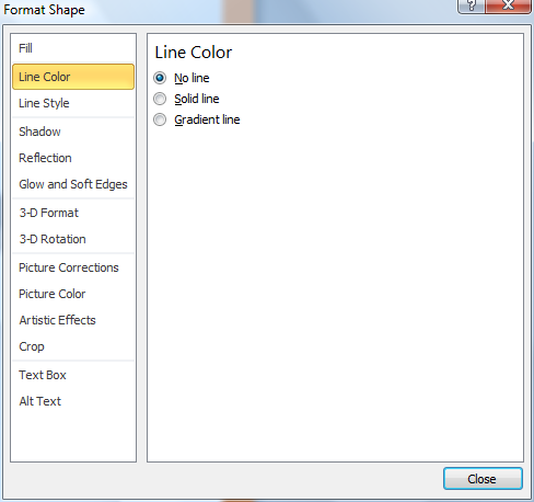 Microsoft Word Format Shape Window - Line Color No Line