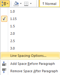 Microsoft Word Line Spacing Options