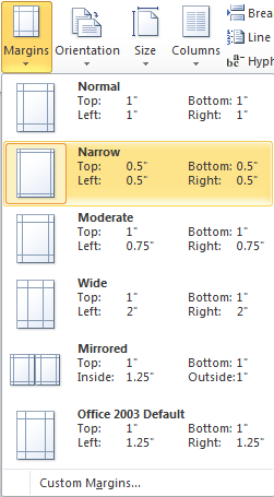 Microsoft Word Margins Options - Narrow