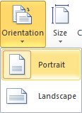 Microsoft Word Orientation Options - Portrait