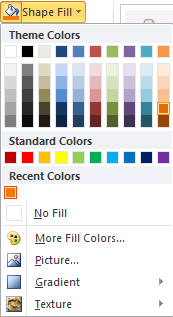 Microsoft Word Shape Fill Color Options
