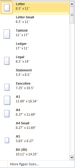 Microsoft Word Size Options
