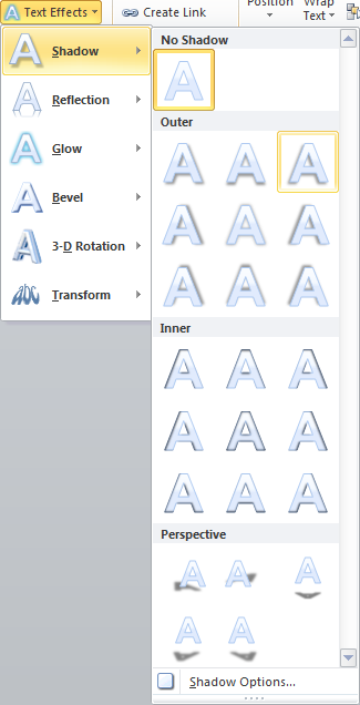 Microsoft Word Text Effects Shadow Options