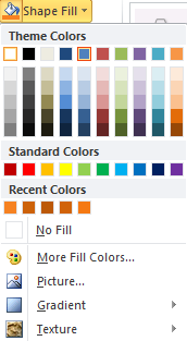 Microsoft Word Shape Fill - Color Options