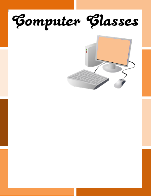 Microsoft Word Computer Classes Flyer with Title and Image
