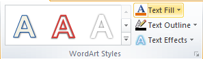 Microsoft Word WordArt Styles Group - Text Fill