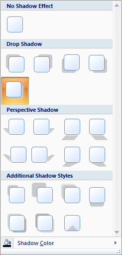Microsoft Word 2007 Drop Shadow Menu