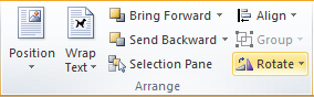 Microsoft Word 2010 Arrange Group Rotate Icon
