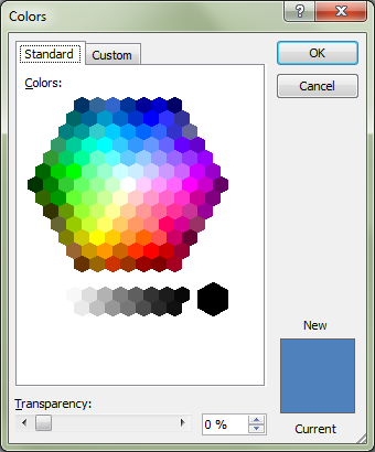 Microsoft Word 2010 Colors Window Standard Tab