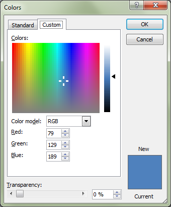 Microsoft Word 2010 Colors Window