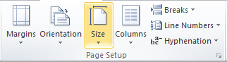 Microsoft Word 2010 Page Setup Group Size