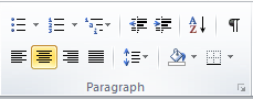 Microsoft Word 2010 Paragraph Group Center Icon