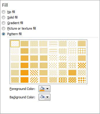 Microsoft Word 2010 Pattern Fill Options