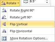 Microsoft Word 2010 Rotate Flip Vertical