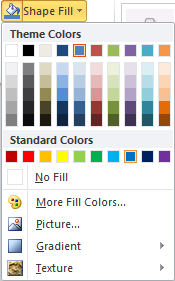 Microsoft Word 2010 Shape Fill Color Menu