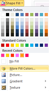 Microsoft Word 2010 Shape Fill More Colors