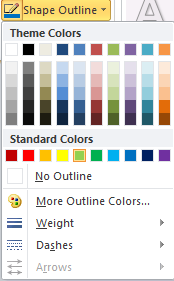 Microsoft Word 2010 Shape Outline Color Menu