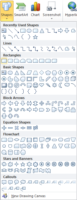 Microsoft Word 2010 Shapes Rectangle