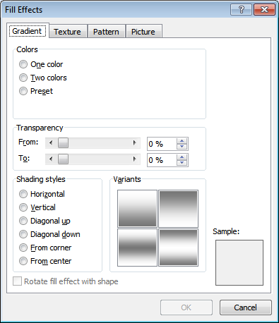 Microsoft Word 2007 Fill Effects Window - Gradient Tab