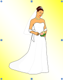 Microsoft Word 2007 Beautiful Bride Flipped Horizontally on Gradient Filled Oval Background