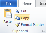 Microsoft Word 2010 Clipboard Group - Copy