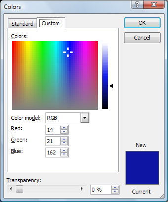 Microsoft Word 2010 Colors Window Custom Tab