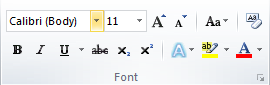 Microsoft Word 2010 Font Group