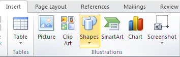 Microsoft Word 2010 Illustrations Group - Shapes