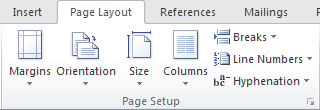 Microsoft Word 2010 Page Layout Tab - Page Setup Group