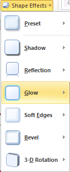 Microsoft Word 2010 Shape Effects - Glow