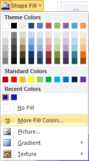 Microsoft Word 2010 Shape Fill - More Fill Colors