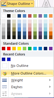 Microsoft Word 2010 Shape Outline More Colors