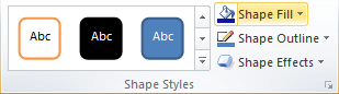 Microsoft Word 2010 Shape Styles Group - Shape Fill