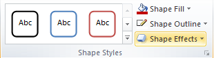 Microsoft Word 2010 Shape Styles Group - Effects