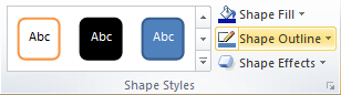 Microsoft Word 2010 Shape Styles Group - Shape Outline