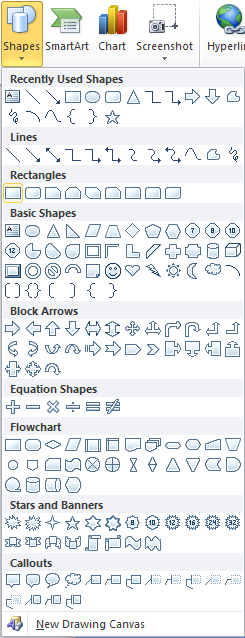 Microsoft Word 2010 Shapes - Rectangle