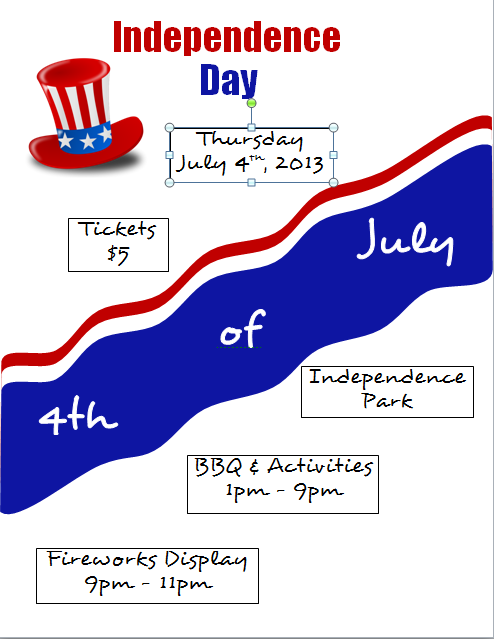 Microsoft Word 2010 Independence Day Flyer with Text Box Outlines
