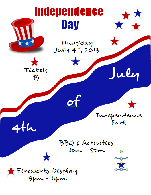 Microsoft Word 2010 Independence Day Flyer with Red and Blue Stars