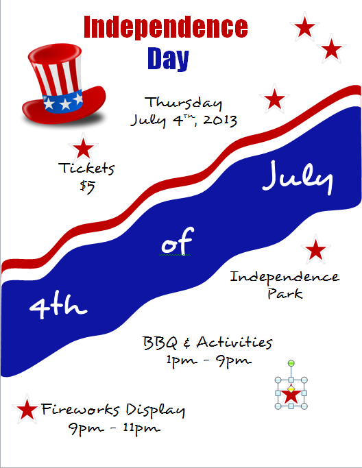 Microsoft Word 2010 Independence Day Flyer with Red Stars