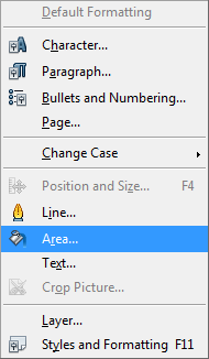 OpenOffice Draw Format Menu Area